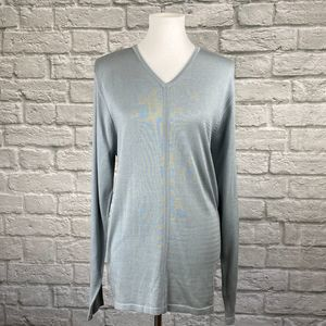 Kenneth Cole Soft Green Silk Tunic Sweater
